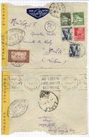!!! LETTRE PAR AVION D'ALGER A ZAHLE (LIBAN) OUVERTE PAR LES AUTORITES DE CONTROLE - Postmark Collection (Covers)