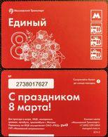 Russia 2018 1 Ticket Metro Bus Trolleybus Tramway March 8 - International Women's Day - Europe