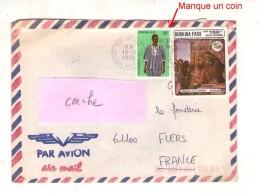 Afrique Lettre Enveloppe 001, Burkina Faso, 1988 Ouagadougou Aéroport, Botticelli, Attention Manque Un Coin Sur Le Timbr - Burkina Faso (1984-...)