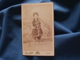 Photo CDV  Blitz Rue De Passy  Paris  Fillette En Costume De Bain Avec Une épuisette Et Une Pelle - 1893 - L356 - Photographs