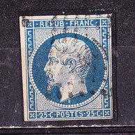 Francia 1852,Napoleone 25 C. Azzurro    Usato - 1852 Louis-Napoléon
