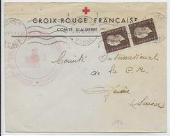 1945 - RED CROSS - CROIX-ROUGE - ENVELOPPE Du COMITE D'AUXERRE (YONNE) => GENEVE - DULAC - Cruz Roja