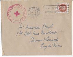 1943 - RED CROSS - CROIX-ROUGE - ENVELOPPE Du COMITE De PARIS => CLERMONT-FERRAND - PETAIN - Marcophilie (Lettres)