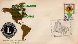 URUGUAY -  1967 The 50th Anniversary Of Lions International    FDC4240 - Uruguay