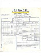 RICARD MARSEILLE FACTURE DE 1954 - 1900 – 1949