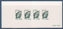 = Gravure Epreuve Des Timbres Marianne De Beaujard Lettre Verte 20g 4593, 50g 4594, 100g 4595 Et 250g 4596 - Documents Of Postal Services