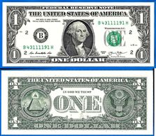 USA 1 Dollar 2013 NEUF UNC Mint New York B2 Suffixe H United States America Etats Unis Dollars Skrill Paypal OK - Bilglietti Della Riserva Federale (1928-...)