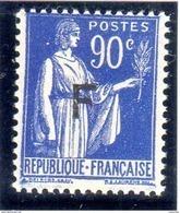 Type PAIX 1933:  Timbre De Franchise: N° 10** (90c Outremere Surchargé F) - Franquicia Militar (Sellos)