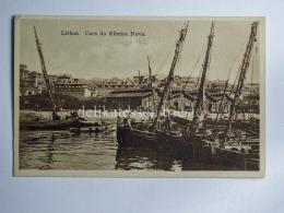 PORTOGALLO PORTUGAL LOSBOA Caes Da Ribeira Nova Boat Fisherman AK Old Postcard - Lisboa