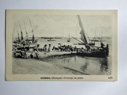 PORTOGALLO PORTUGAL LOSBOA Descarga Do Peixe Boat Fisherman AK Old Postcard 1225 - Lisboa