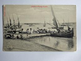 PORTOGALLO PORTUGAL LOSBOA Descarga Do Peixe Boat Fisherman AK Old Postcard - Lisboa