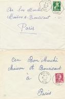 """RARE Obl """" VILLARS BONE """" Cachet Perlé Distribution + Idem Cachet D' Agence Postale Sur 2 Lettres 1957 - Algeria (1924-1962)"""