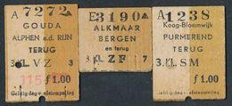 HOLLAND  QY2763q HOLLAND 3 ½ Tickets 1947-53 Koog-Bloemwijk Gouda Alkmaar Billet Fahrkarte - Railway