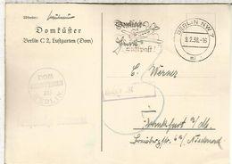 ALEMANIA REICH 1938 BERLIN CC FRANQUICIA DOMFÜHRER MAT AVION - Germany