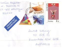 (999) Poland To Australia Cover With Europa Stamps + Triangle - 2005