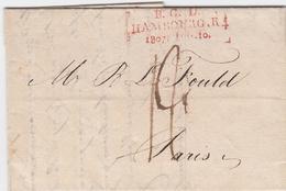 1807, B. G. D. HAMBOURG. R. 4., Seltener Roter L3 Auf Kabinettbrief Nach Paris,Hb. 1349-12, 300,- 1807, B. G. D. HAMBOUR - Hamburg