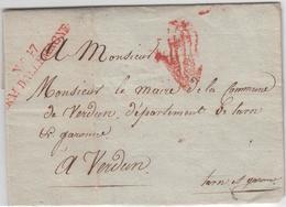 1810, Hamburg, Prachtbrief Mit Seltenem Rotem L2 NO. 47 ARM. D` ALLEMAGNE Nach Verdun 1810, Hamburg, Prachtbrief Mit Sel - Hamburg