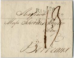 """""""128 / HAMBURG"""", L2 Auf 2 Seitigem Firmenbrief 16/10/1813 Nach Bordeaux, Grosse Schwarze Austaxierung """"19"""". """"128 / HAMBU - Hamburg"""