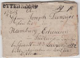 1818, OTTERNDORF, L1 Auf Seltenem Wertbrief ''frei Bis Hamburg`` Nach Erheusen/Daenemark (hebraeisch Geschriebener Inhal - Hamburg