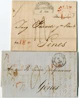 """2 Prachtbriefe Mit Boersenberichten, 1 X Halbkreisstpl. 11.Maerz 1829 Nach """"Genes"""", Roter Transitstpl. """"MILANO LT"""" Und B - Hamburg"""