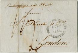 """Schiffspost-Brief Hamburg 1838"", Klare Auf Pracht-Brief (Hue) Nach London, Rueckseitig Violetter Ra2 ""HULL / SHIPLETTER - Hamburg"
