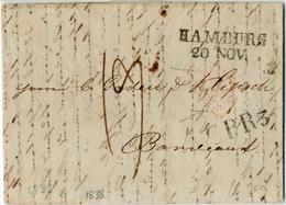 """""""HAMBURG / 20 NOV."""", L2 (Feuser 1353-1) Als Transitstpl. Auf Prachtbrief Aus St.Petersburg 28/10/38 Nach Frankreich, Tra - Hamburg"""