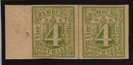 4 Sch. Gelbgruen, Ungebr. Waagr. Pracht-Randpaar Mit Reihenzahl ''5`` 4 Sch. Gelbgruen, Ungebr. Waagr. Pracht-Randpaar M - Hamburg