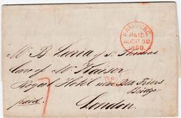 1860, HAMBURG PAID, Klarer Roter K1 Auf Brief Nach London An ''M. B. Luria Of St. Thomas, Care Of W. Kaiser, Royal Hotel - Hamburg