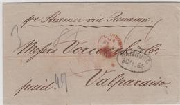 1865, HAMBURG, Ovalstempel Auf Barfrankiertem Brief ''paid`` Ueber London ''per Steamer Via Panama`` Nach Valparaiso/Chi - Hamburg