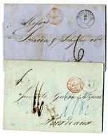 """""""ROSTOCK"""", K 2 1851 Und 1861 Auf Zwei Transitbriefen Nach Bordeaux, Tax-Stpl. """"6"""" Bzw. Hs. Vermerke Und Transitstpl. """"HA - Mecklenburg-Schwerin"""