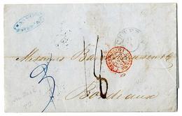 """Prachtbrief 1853 Mit K 2 """"SCHWERIN"""" (HB 3273-11) Nach Bordeaux, Rs. 4 Versch. Bahnpost Ra 3 Und Rundstpl. """"HAGENOW-ROSTO - Mecklenburg-Schwerin"""