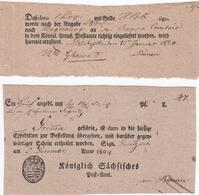 1809-1820, DELITZSCH (hs.) Auf Schein ''Koeniglich Saechsisches Post-Amt`` Und Preuss. Schein 1809-1820, DELITZSCH (hs.) - Sachsen