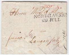 1821, ROSLA., Roter L1 In ''chursaechsischer`` Form, Als Postwaerterstempel Nebst L2 NORDHAUSEN Auf Kleinem Kabinettbrie - Sachsen