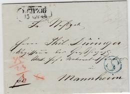 1844, LEIPZIG, R2 Nebst Seltenem Blauem K1 ''S`` Auf Kabinettbrief Nach Mannheim 1844, LEIPZIG, R2 Nebst Seltenem Blauem - Sachsen