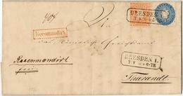 "1/ 2 Ngr.orange + 2 Ngr.blau Auf Kabinett-R.-Brief (mit Inhalt) ""Dresden 7.V.66"" Nach Tharandt 1/ 2 Ngr.orange + 2 Ngr.b - Sachsen"