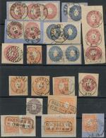 1/2 Ngr. Orange, Prachtstueck Mit Letzttags-L2 LEIPZIG I 31.12. 67, Dazu Weitere Schoene Wappen-Marken, Meist Briefstuec - Sachsen