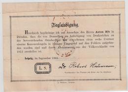 1863, Leipzig, ''Anton Elb``, Verzierte ''Beglaubigung`` Fuer Eine Aus Kanonenkugeln Der Voelkerschlacht 1813 Gegossenes - Sachsen