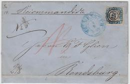 1 1/4 S. Blau/rosa, Einzeln Mit Stempel ''124`` Neumuenster Auf Recobrief Nach Rendsburg, Hs. Nota-Bene-Zeichen 1 1/4 S. - Schleswig-Holstein