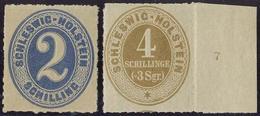 2 Sch. Ultramarin, 4 Sch. Ocker (Randstueck Mit Reihenzahl ''7``), Postfrisch Bzw. Ungebr. (Mi. 200,-) 2 Sch. Ultramarin - Schleswig-Holstein