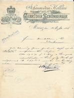 Entête  Mainz Du 14 Décembre 1896 - Sect - Kellerei  Gebrüder & Schönberger.- Inhaber Der Königl.Preuss Staats Medaille. - Food