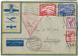"Chicagofahrt: 1,2 RM Chicagofahrt (2 RM Eckbugspur) + Beifrankatur 10,15 Pf Flug (kl. Maengel) ""Hamburg 13.10.33"" (teils - Luftpost"