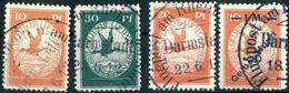 """1-30 Pf Rhein-Main + 1 Mk """"Gelber Hund"""": 4 Gestempelte Prachtstuecke, Gepr. Simon 1-30 Pf Rhein-Main + 1 Mk """"Gelber Hund - Luftpost"""