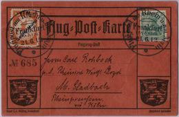 """1 M Auf 10 Pf """"Gelber Hund"""" Dreimal (2 X Rueckseitig) Auf Roter, Nummerierter Flugpostkarte (Nr.685) Mit Grusstext Aus F - Luftpost"""