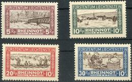 Rheinnot 1928 **, Dabei Die 5 Rp Mit Plattenfehler, Feinst. M? 300.- Rheinnot 1928 **, Dabei Die 5 Rp Mit Plattenfehler, - Liechtenstein
