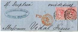 """1873, Paar 4 P Mit NS """"B 53"""" Von Port Louis Auf Oberer Briefhaelfte Mit Rotem Nebenstpl. """"POS.AN.V.SUEZ PAQ.F.1 MARS 1""""  - Mauritius (1968-...)"""