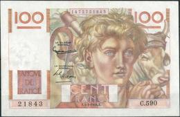 100 Franc 4.3.1954, Oben Winz. Einriss, Sonst I-II 100 Franc 4.3.1954, Oben Winz. Einriss, Sonst I-II - France