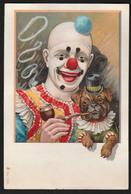 CHROMO GRAND FORMAT - Clown Avec Un Chien Qui Fume Une Pipe - 140x93 Mm - Chromos