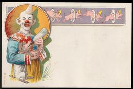 CHROMO GRAND FORMAT - Clown Avec Un Cochon - 140x93 Mm - Chromos