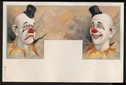 CHROMO GRAND FORMAT - Clowns Avec Chapeau Haut De Forme - 140x93 Mm - Chromos