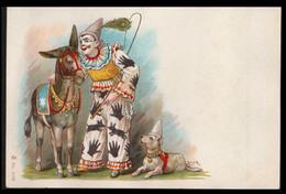 CHROMO GRAND FORMAT - Clown Avec Chien Et âne - 140x93 Mm - Chromos